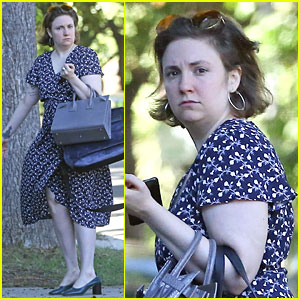 Lena Dunham Dons Floral-Print Dress While Running Errands in LA