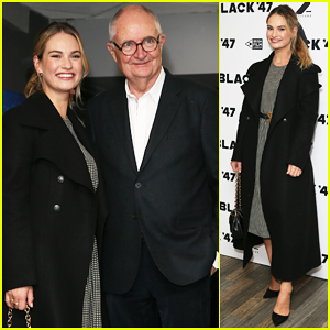 Lily James Supports 'War & Peace' Co-Star Jim Broadbent at 'Black 47' Premiere!