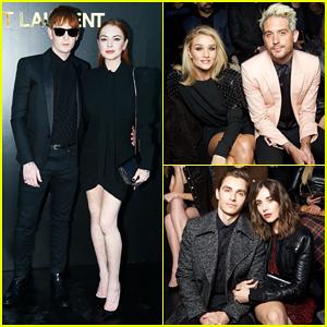 Lindsay Lohan & Brother Dakota Sit Front Row at Star-Studded Saint Laurent Paris Show!