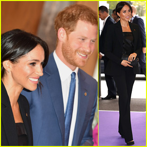 Duchess Meghan Markle Looks So Chic in Black Pantsuit at WellChild Awards with Prince Harry!