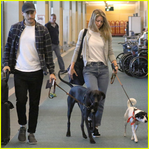 Melissa Benoist & Boyfriend Chris Wood Jet Out of Vancouver With Their Pups!