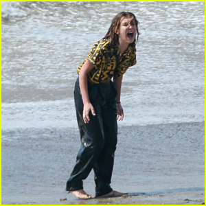 Millie Bobby Brown Films a Dramatic Scene at the Beach for 'Stranger Things' Season 3!