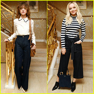 Natalia Dyer & Dove Cameron Are Black & White Babes at Glamour x Tory Burch Luncheon