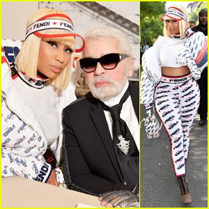 Nicki Minaj Supports Karl Lagerfeld at Fendi Milan Fashion Show!