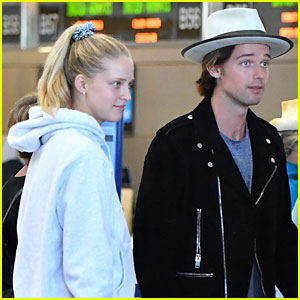 Patrick Schwarzenegger & Girlfriend Abby Champion Catch Flight to Milan During Fashion Week