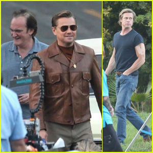Leonardo DiCaprio, Brad Pitt & Quentin Tarantino Film 'Once Upon a Time in Hollywood'!
