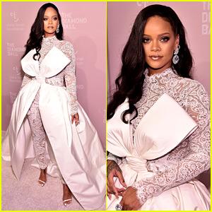 Rihanna Looks Major in White Lace Look at Diamond Ball 2018