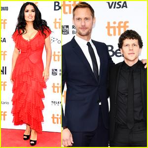 Salma Hayek Joins Alexander Skarsgard & Jesse Eisenberg at 'Hummingbird Project' Premiere at TIFF 2018