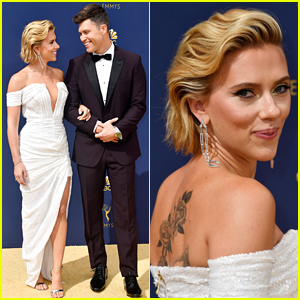 Scarlett Johansson Supports Boyfriend Colin Jost at Emmys 2018
