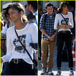 Tom Holland & Zendaya Are Surrounded By Pigeons on 'Spider-Man' Set in Italy