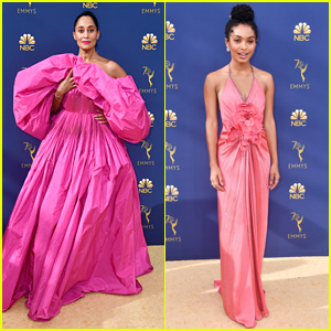 Black-ish's Tracee Ellis Ross & Yara Shahidi Match in Pink at Emmy Awards 2018