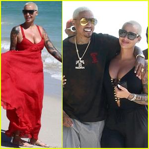 Amber Rose & Boyfriend Alexander Edwards Cozy Up on the Beach in Miami!