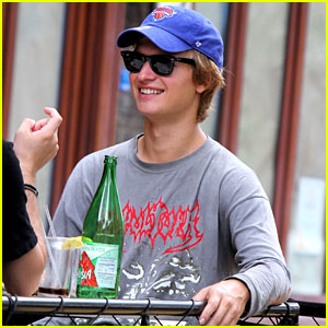 Ansel Elgort Grabs Lunch With a Friend at Bar Pitti in NYC