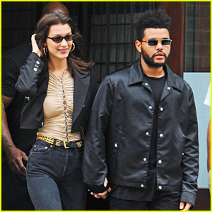 The Weeknd & Bella Hadid Hold Hands While Celebrating Her Birthday