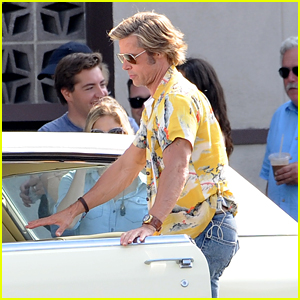 Brad Pitt Films a Car Scene for 'Once Upon a Time in Hollywood' in Burbank!