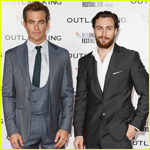 Chris Pine & Aaron Taylor-Johnson Suit Up for 'Outlaw King' European Premiere!