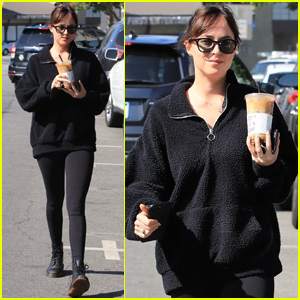Dakota Johnson Makes Casual Coffee Run in Los Angeles
