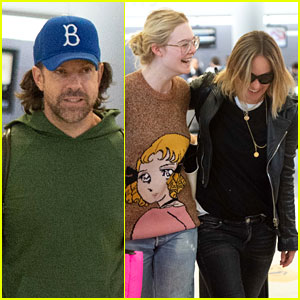 Elle Fanning & Olivia Wilde Share a Laugh at JFK Airport With Jason Sudeikis
