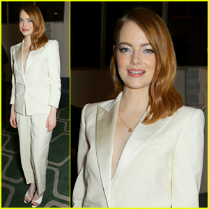 Emma Stone Suits Up for 'The Favourite' After Party in London