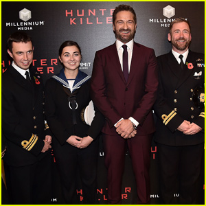 Gerard Butler Attends 'Hunter Killer' Premiere With Royal Navy!