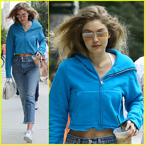 Gigi Hadid Returns Home From Zayn Malik's Apartment in Teal Crop Hoodie
