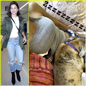 Jenna Dewan Enjoys Nap Time with Her Dog After Flying Home