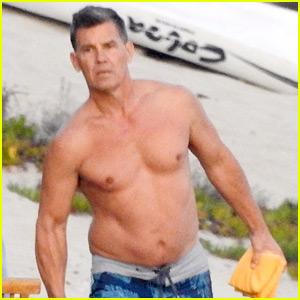 Josh Brolin Puts His Buff Body While Shirtless at the Beach