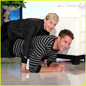 Ellen DeGeneres Lies on Top of Justin Hartley While He's Planking (Video)