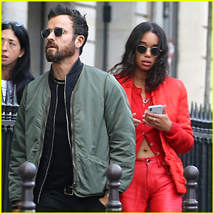 Justin Theroux Spends Time with Actress Laura Harrier in Paris