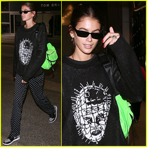 Kaia Gerber Honors 'Hellraiser' While Landing in LA After Paris Fashion Week