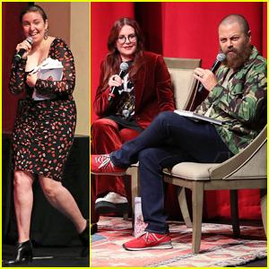 Lena Dunham Moderates Megan Mullally & Nick Offerman Panel: 'The Teens Stan You'