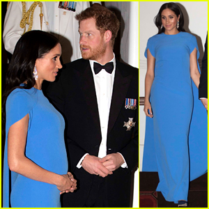 Duchess Meghan Markle Cradles Her Baby Bump at Fiji State Dinner