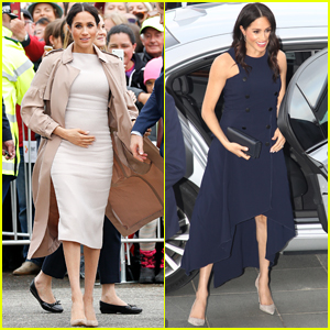 Duchess Meghan Markle Cradles Her Baby Bump During Outing with Prince Harry