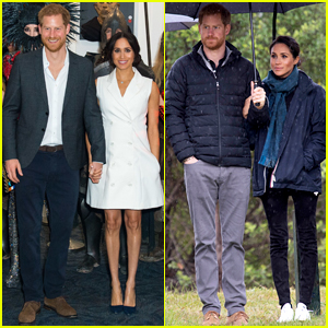 Duchess Meghan Markle & Prince Harry Brave the Rainy Weather for New Zealand Appearance