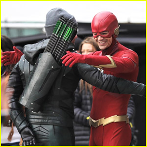 Stephen Amell, Grant Gustin & Melissa Benoist Spotted in Superhero Suits For 'Arrowverse' Crossover