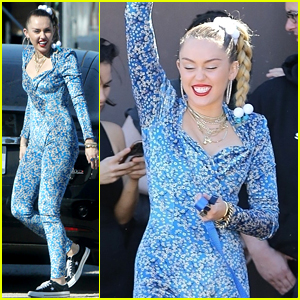 Miley Cyrus Wears Form-Fitting Jumpsuit for New Project