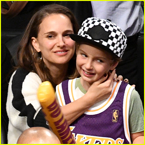 Natalie Portman Brings Son Aleph, 7, to Lakers Game! (Photos)