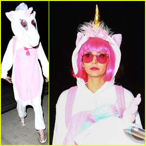 Nina Dobrev Dresses As a Unicorn For Kate Hudson's Halloween Party