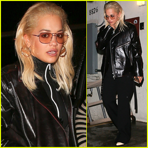 Rita Ora Rocks Leather Outfit for Dinner in WeHo