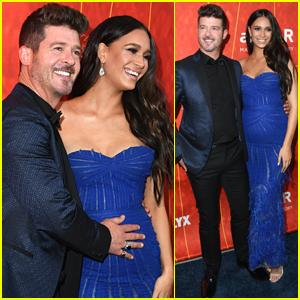 Robin Thicke Cuddles Girlfriend April Love Geary's Baby Bump at amfAR Gala 2018!