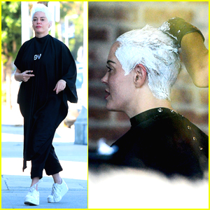 Rose McGowan Stops by a Salon to Get Her Hair Re-Bleached