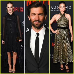 Sarah Paulson Supports The Haunting Of Hill House Cast At Season 1 Premiere Annabeth Gish Annalise Basso Anthony Ruivivar Carla Gugino Elizabeth Reaser Kate Siegel Lulu Wilson Mckenna Grace Michiel Huisman