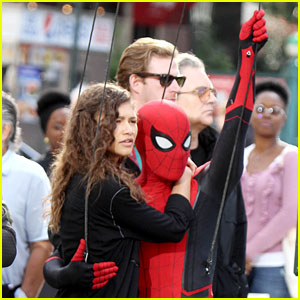 Tom Holland Dons 'Spider-Man: Far From Home' Costume While Filming With Zendaya in NYC