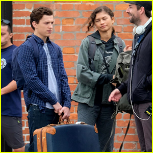 Tom Holland & Zendaya Load Up Their Luggage For 'Spider-Man' Scene