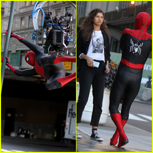 Spider-Man Does a Stunt on 'Far From Home' Set with Zendaya!