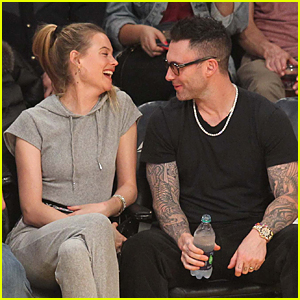 Adam Levine & Behati Prinsloo Cheer On Lakers from Courtside Seats!