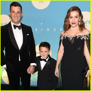 Alyssa Milano is Joined by Husband Dave Bugliari & Son Milo at UNICEF Snowflake Ball!