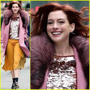 Anne Hathaway Debuts New Red Hair on 'Modern Love' Set