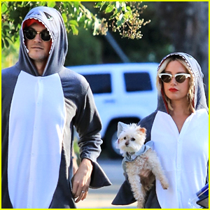 Ashley Tisdale, Husband Christopher French, & Dog Maui Dress Up as Sharks for Halloween!