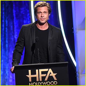 Brad Pitt Presents Award at Hollywood Film Awards 2018!